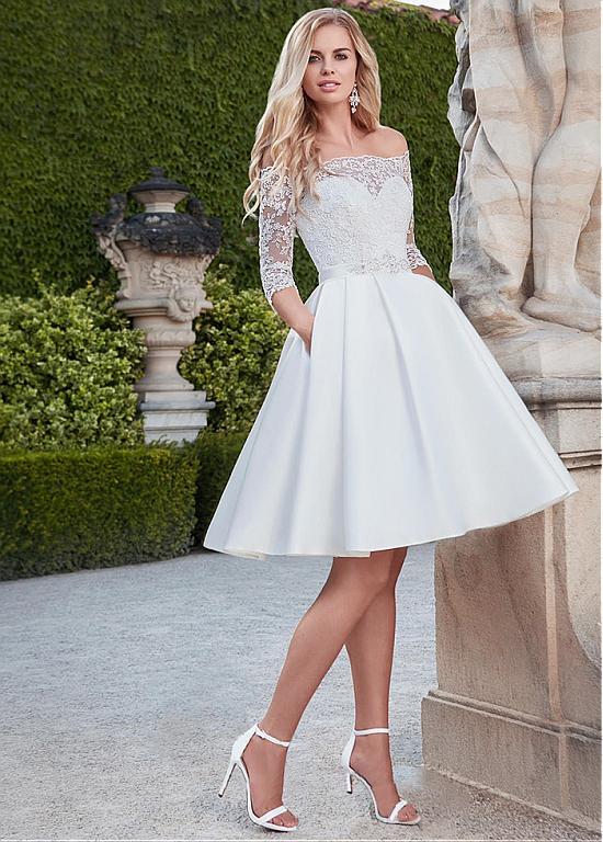 Magbridal Pretty Lace & Satin Off-the-shoulder Neckline Knee-length A-line Wedding Dresses With Belt & Pockets