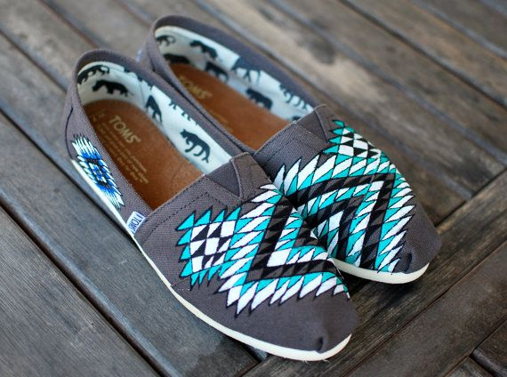 Custom Hand Painted TOMS Native American tribal theme on