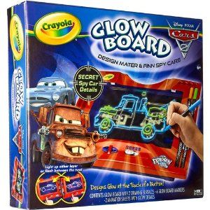 Crayola Disney Pixar Cars 2 Glow Board by Cars. $22.28. Design Mater and Finn spy cars! Designs glow at the touch of a button! Includes board with 2 drawing surfacses, 6 glow board markers, 2 animation sheets with glow details. 3x AA batteries required (not included).