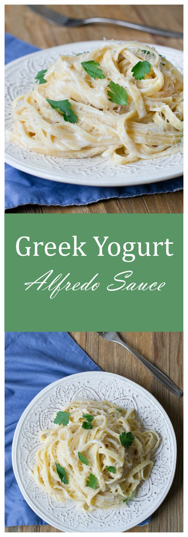 Get this delicious recipe for a lean protein-packed Alfredo Sauce that uses Greek yogurt instead of tons of butter and cream. This post is sponsored by Stonyfield.