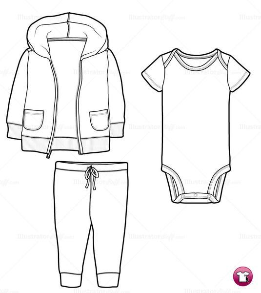 Infant Hoodie, Onesie and Pants Fashion Flat Template Fashion - onesie template