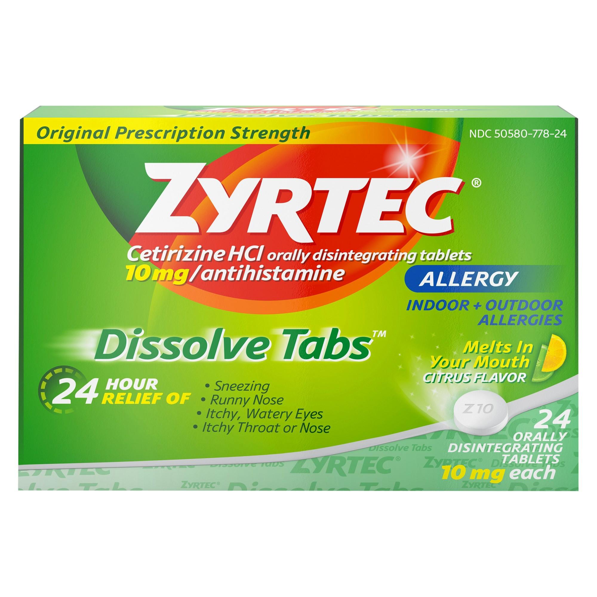 Zyrtec Allergy Relief Dissolve Tablets Citrus Flavor Cetirizine Hcl 24ct Zyrtec Allergy Relief Allergies