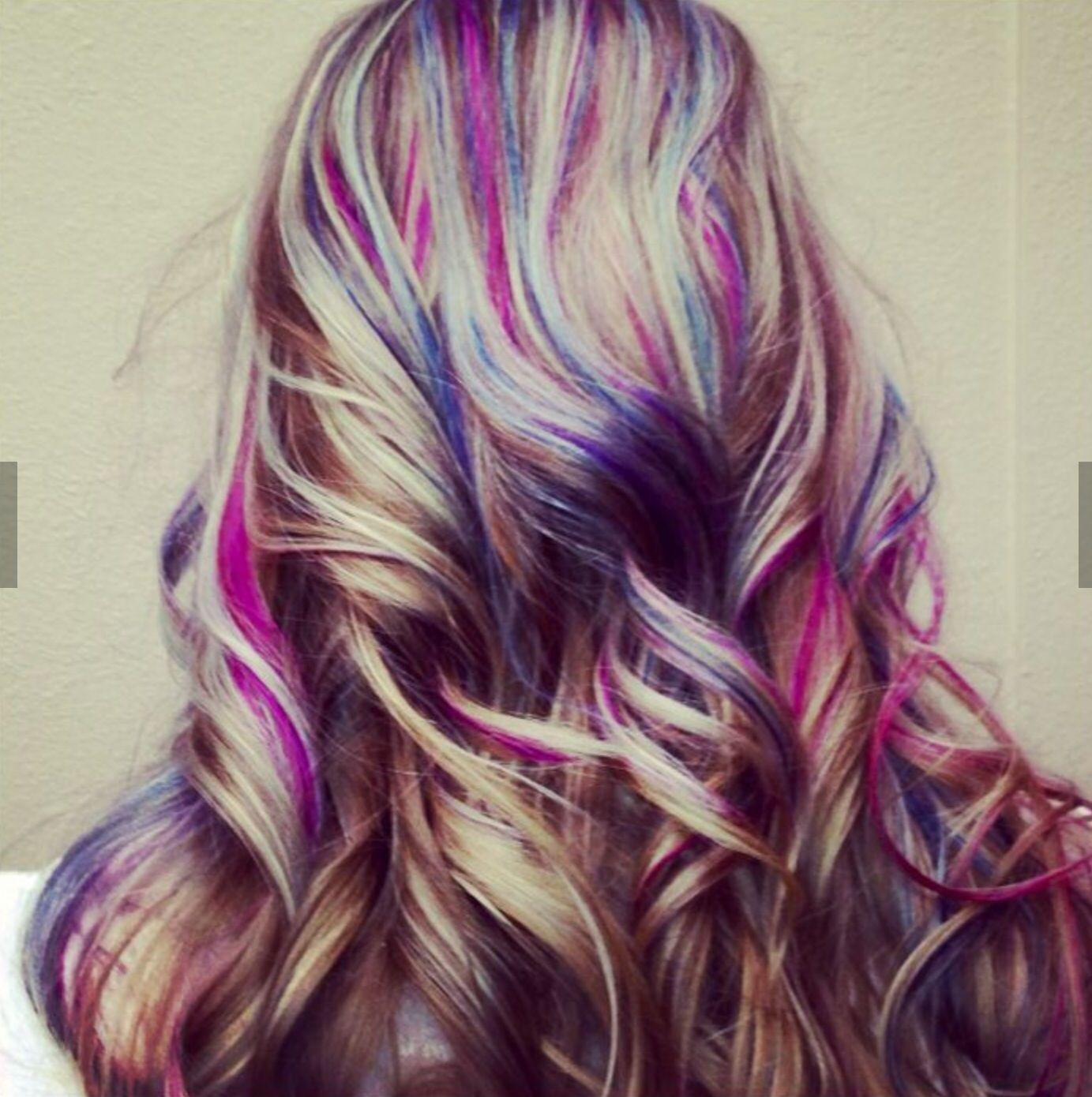 Awesome Purple Hair Streaks Pink Blonde Hair Light Hair Color