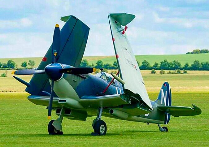 Awesome view of a Spitfire with its wings folded.