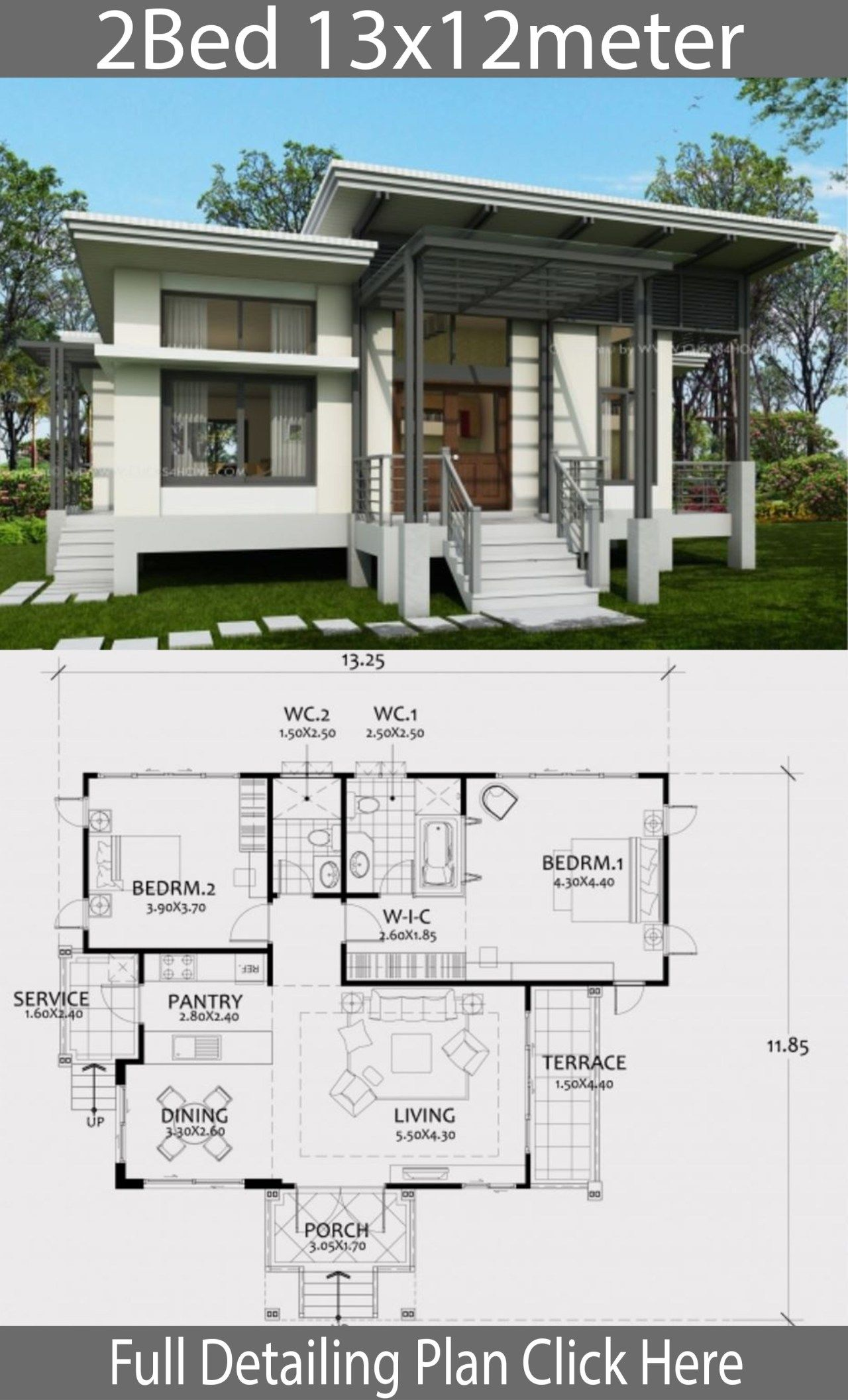 One Story House Plan 13x12m With 2 Bedrooms Home Ideas Brick Exterior House House Plans Story House