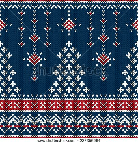 Winter Holiday Seamless Knitting Pattern with a Christmas Tree ...