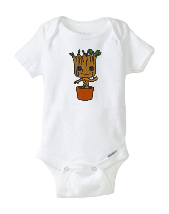 62a1ada77 Guardians of the Galaxy Baby Groot Onesie Bodysuit. Very cute baby shower  gift for discerning geek parents.