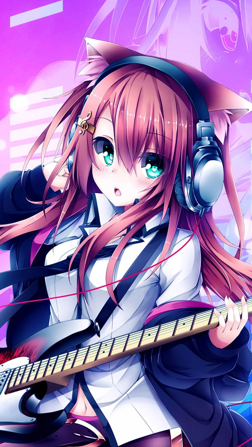 anime hd widescreen wallpapers | anime girl playing guitar wallpaper