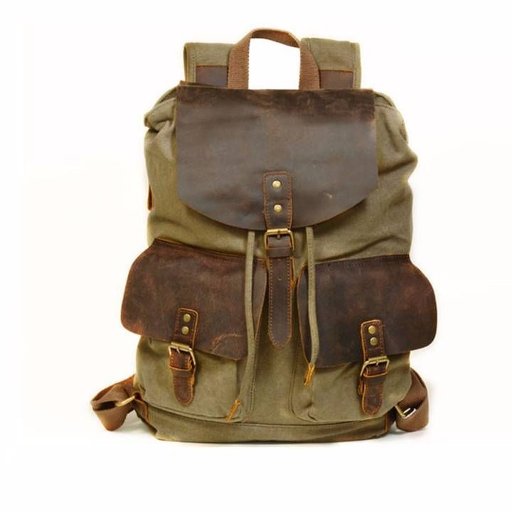 4666ddaadc4e EAZO - Vintage Style Canvas Leather Backpack in Green
