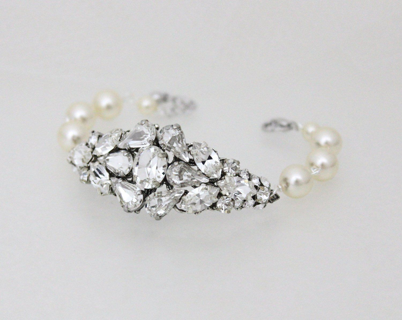 Crystal bridal bracelet bridal jewelry crystal and pearl bracelet