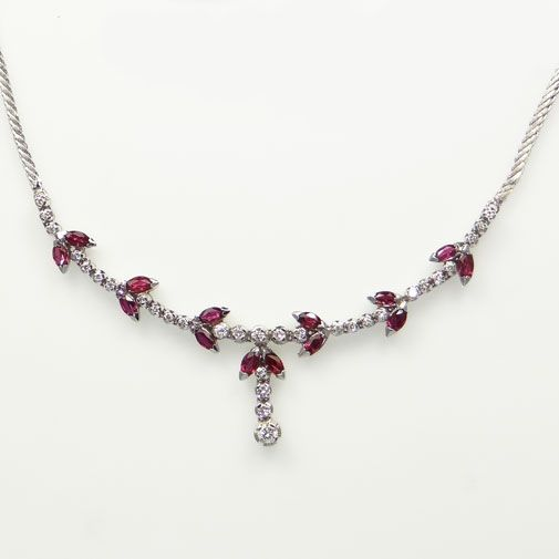 Vintage 18ct White Gold Diamond and Ruby Collarette Necklace, Hallmarked 1974 Marker: Slack and Andrews for Ollivant and Bostford, Manchester, England