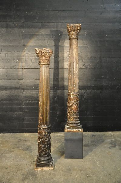pair of 18th wooden columns