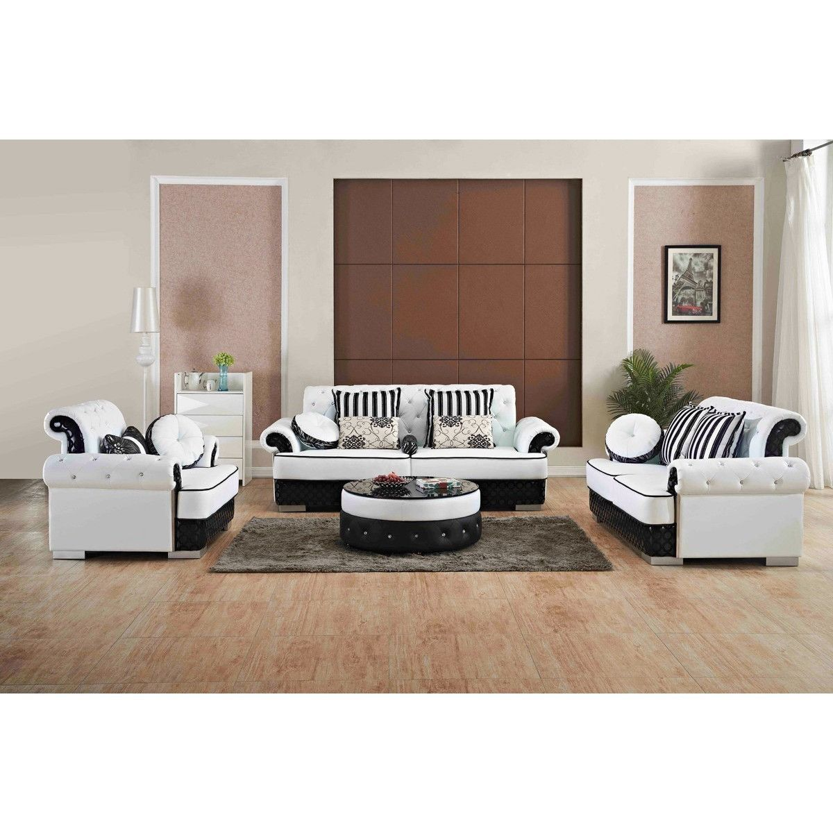 Divani Casa J607 Modern White Amp Black Bonded Leather Sofa