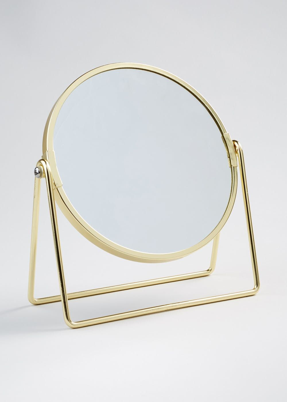Wire Stand Double Sided Mirror 21cm X 19cm Gold