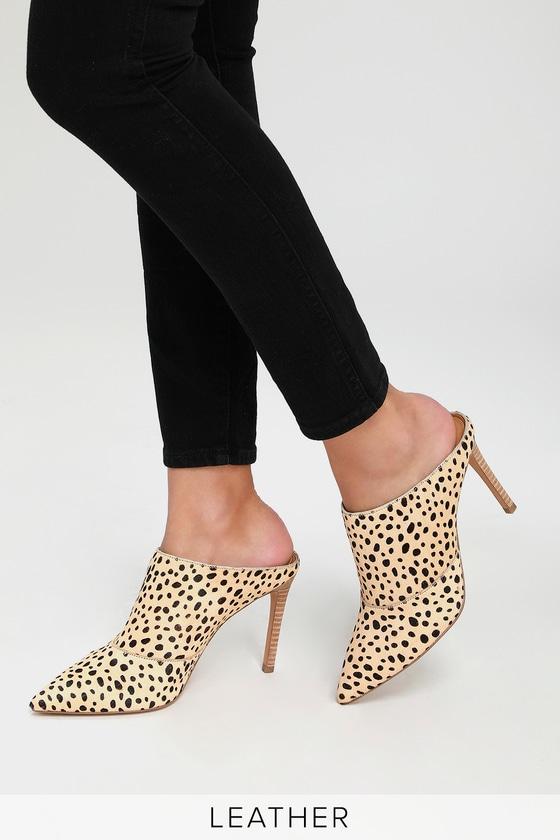 2ea05b97e16 Lulus | Cinda Leopard Print Calf Hair Pointed Toe Mules | Size 7.5 ...