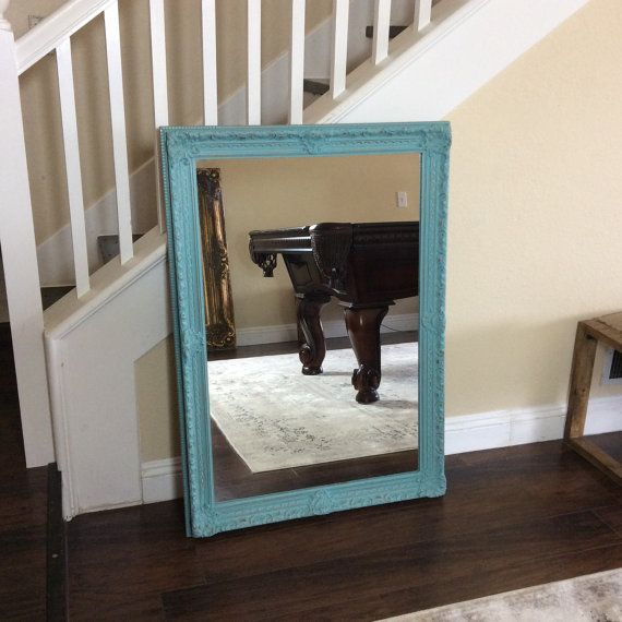 large turquoise mirror ornate mirror wall mirror wood framed