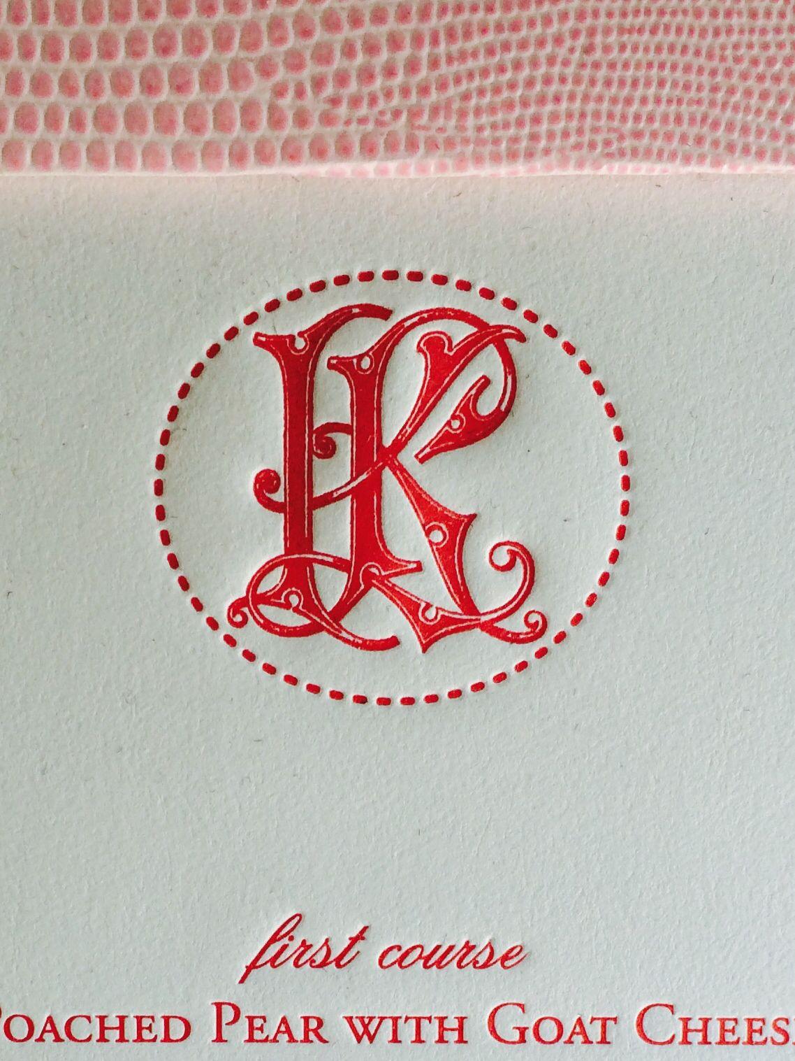 Letterpress monogram used here on a @bellinvito bat mitzvah menu ...