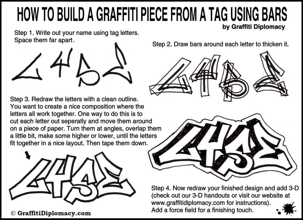 how to draw graffiti 3d letters step by step on paper ...How To Draw Graffiti Art Step By Step
