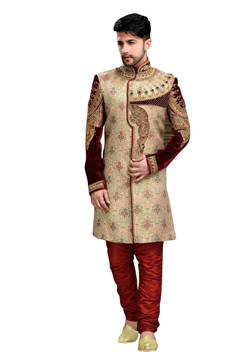 Elegant multiple brocade jamawar and velvet indian wedding sherwani