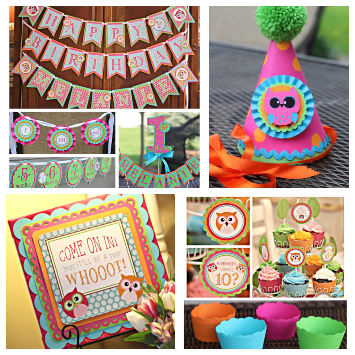 Girl Owl First 1st Birthday Party Decorations Charming 8 Piece Decor