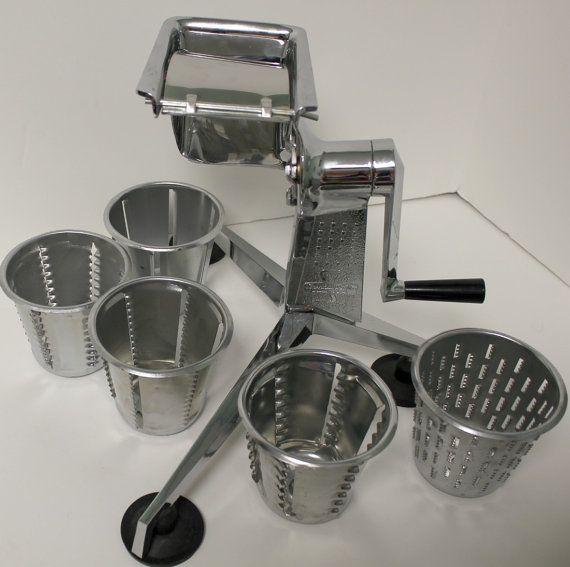 Vintage Saladmaster Food Processor Cutter Slicer Shredder Grater~5 Cones