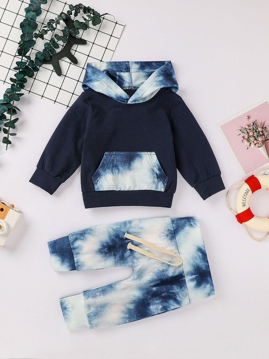 2 Pcs Infant Boy Tie Dye Set Kangaroo Pocket Hoodie Matching Pants Kangaroo Pocket Hoodie Tie Dye Set Boys Ties [ 1200 x 900 Pixel ]