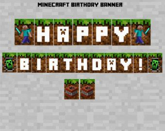 image relating to Free Printable Chevron Banner Minecraft known as Minecraft+Pleased+Birthday+Banner sünnipäevaks Content