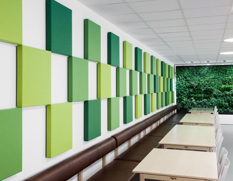 schallabsorbierende Wandplatten in Grüntönen   Raumteiler ...