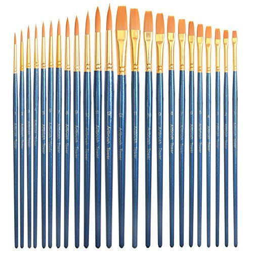 Premium Art Brush Set24 Piece Golden Synthetic Hair Short Wooden
