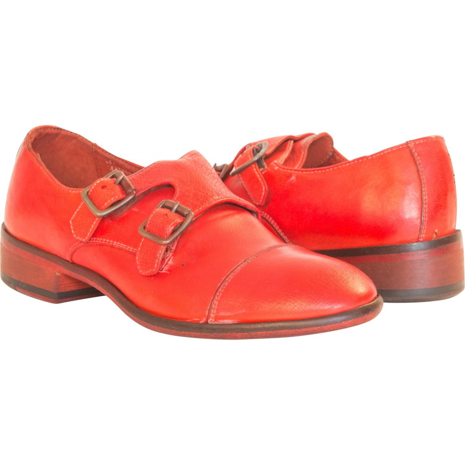 Courtney Dip Dyed Red Leather Double Monk Strap Shoes full-size #1