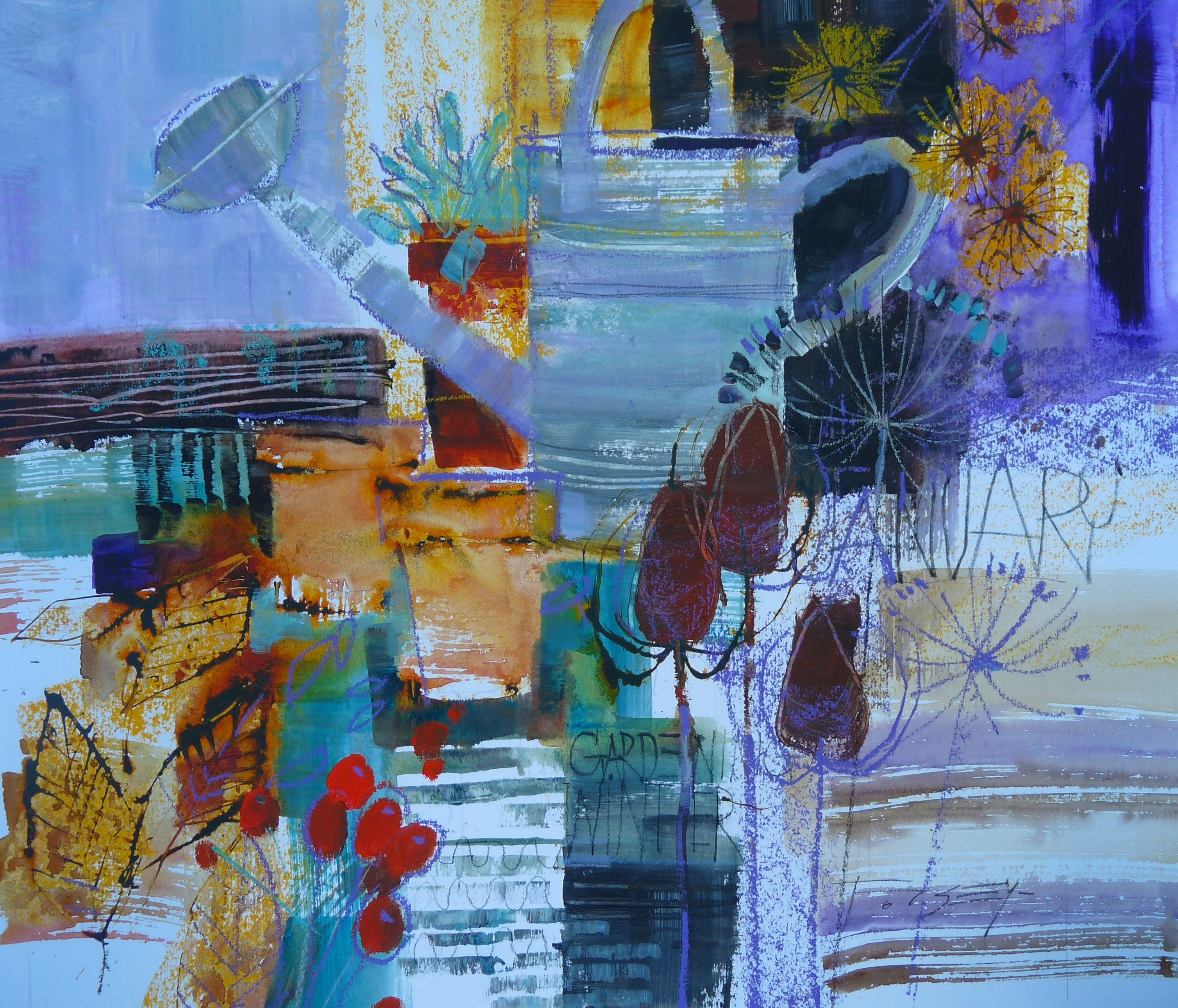 "Chris Forsey Ri ""potting Shed Blues"" Mixed Media 51x66cm"