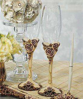 Vintage toasting flutes $23.98, vintage wedding decorations, wedding table decorations