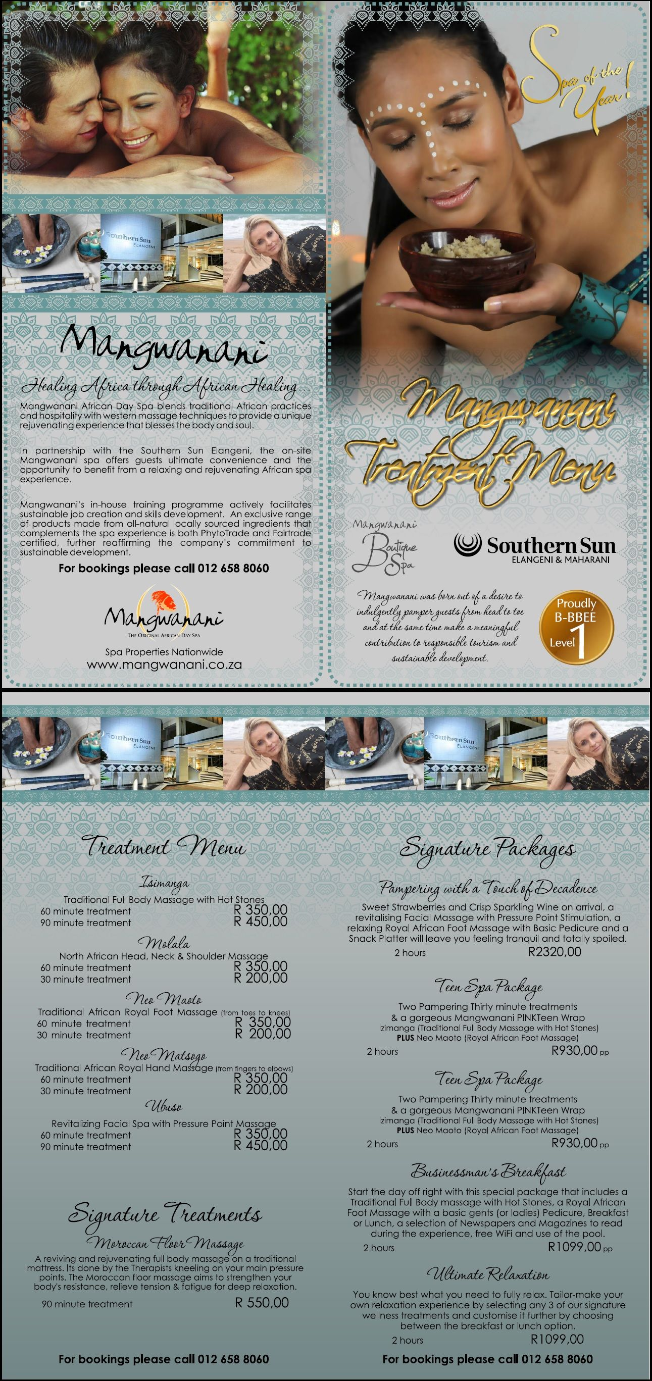 Brochure Mangwanani Spa At Elangeni Hotel Wordtiffie Need