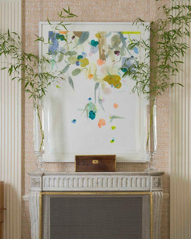 art by arienne lepretre on painted raffia wallpaper by