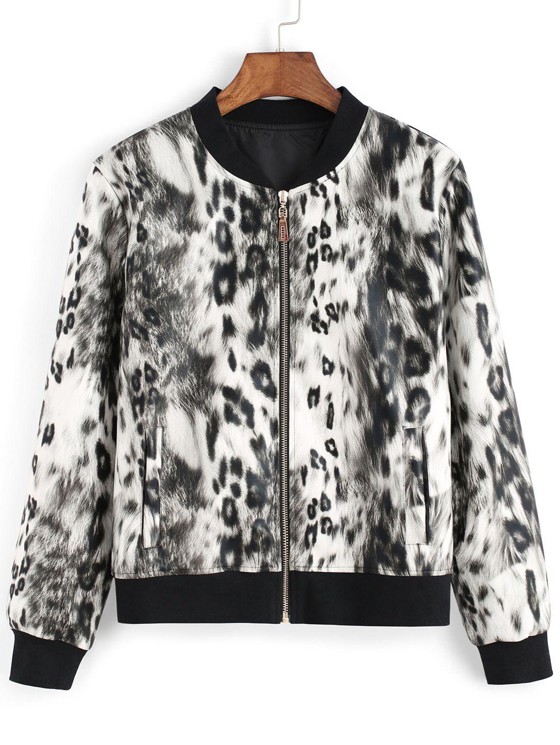 kurzer Mantel mit Leomuster - schwarz und weiß 26.06