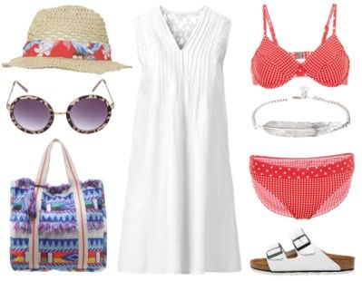 This look takes you from beach to lunch and a little stroll in town. Flaunt your growing belly by wearing just a regular bikini and throw on a crispy white A-line linnen dress when it's time to go. These comfortable flats offer a bit more support than a flip-flop would do. A sun hat and shades are a must to keep you covered and this boho-inspired roomy beach tote carries all your essentials. Don't skimp on sunscreen and stay hydrated! www.ionimage.nl