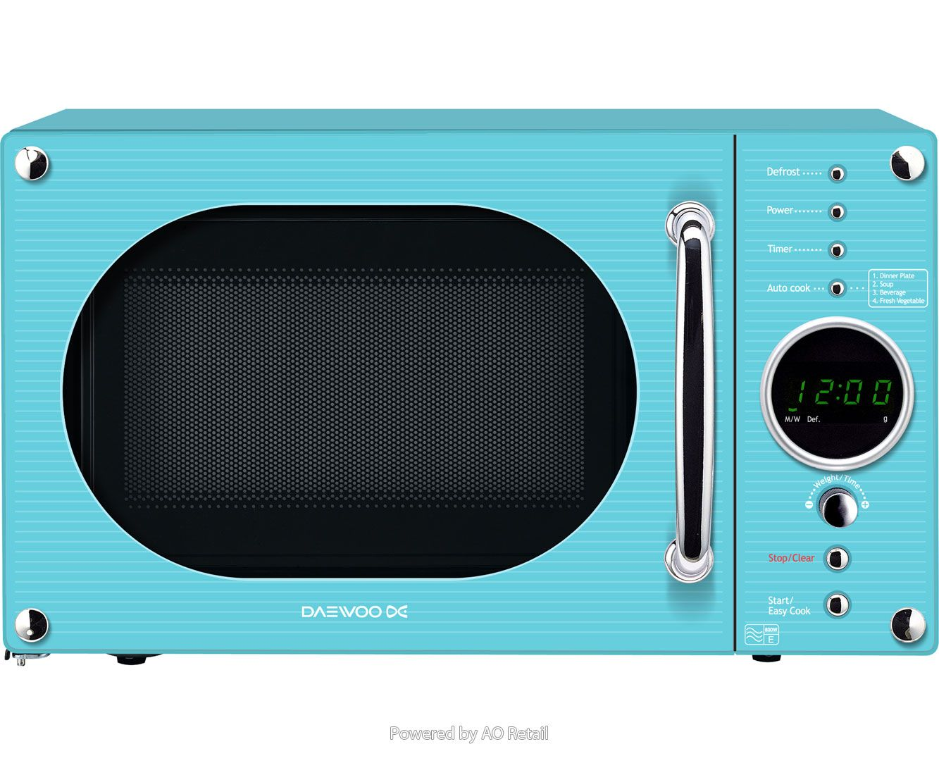 Daewoo Retro Style Kor6n9rt Freestanding Microwave Turquoise