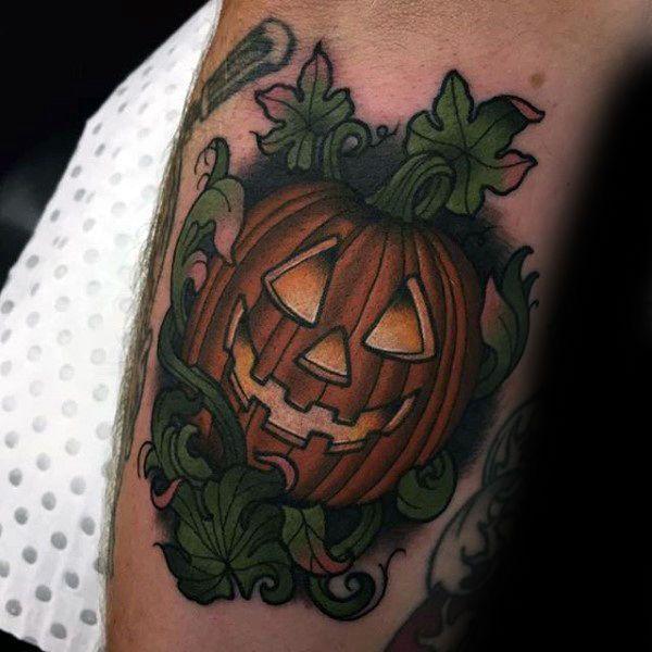 Creative neo traditional jack o lantern male pumpkin for Tattoos of pumpkins