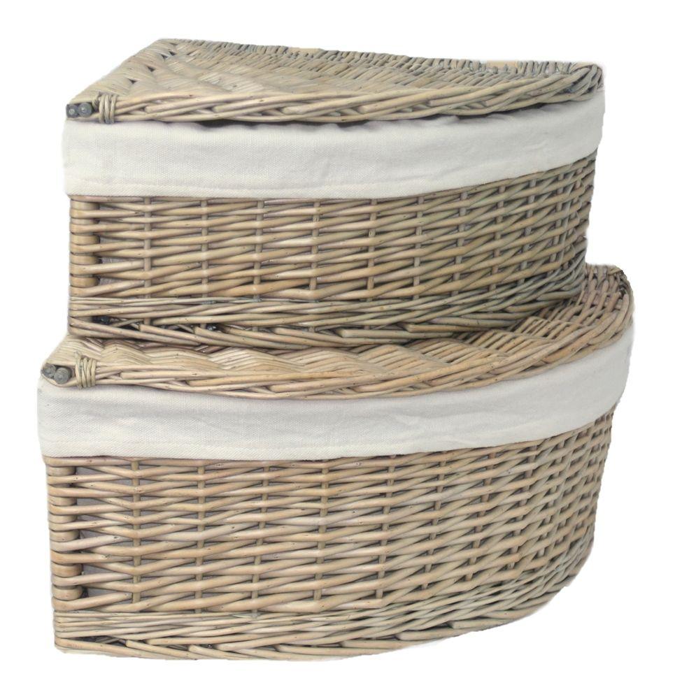 Red Hamper   Set Of 2 Lined Triangular Willow Storage Basket, £50.00 (http