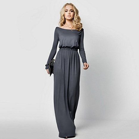 Amazon.com: Celltronic Women Boat Neck Long Sleeve Long Maxi Dress: Clothing