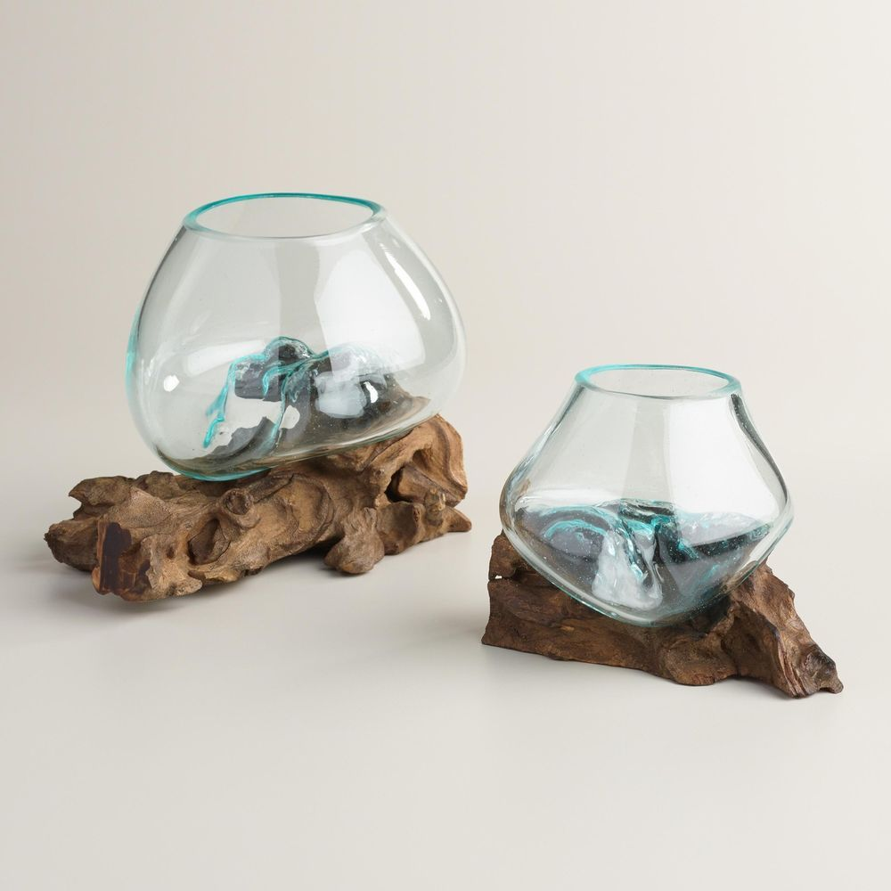 Decorative Blown Glass Bowls Driftwood And Blown Glass Bowl  Large #costplusworldmarket