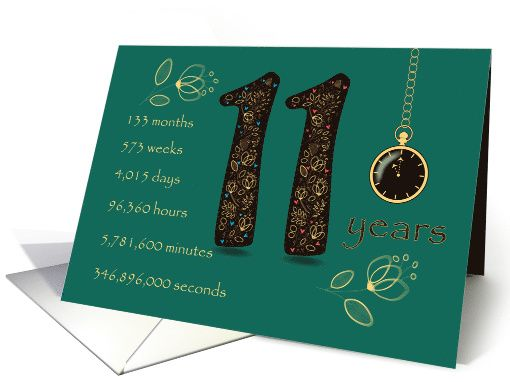 11th Golden Birthday Card Floral Number 11 Time Counting Card 11th Wedding Anniversary 11th Wedding Anniversary Gift Wedding Anniversary