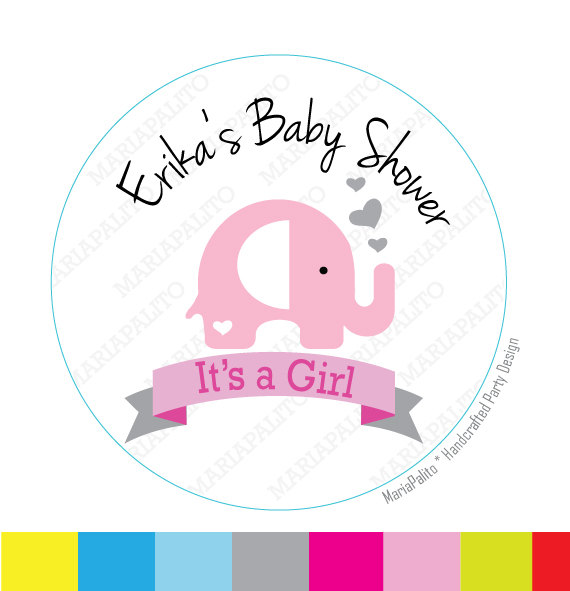 Baby girl stickers its a girl elephant stickers personalized baby shower printed round stickers a815