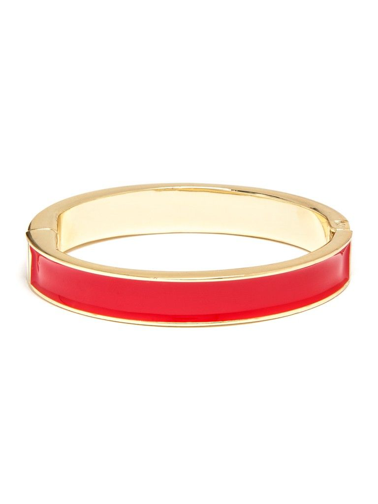 This slim gold bangle is the perfect addition to any bracelet stack, especially with a candy-coating of colorful enamel.