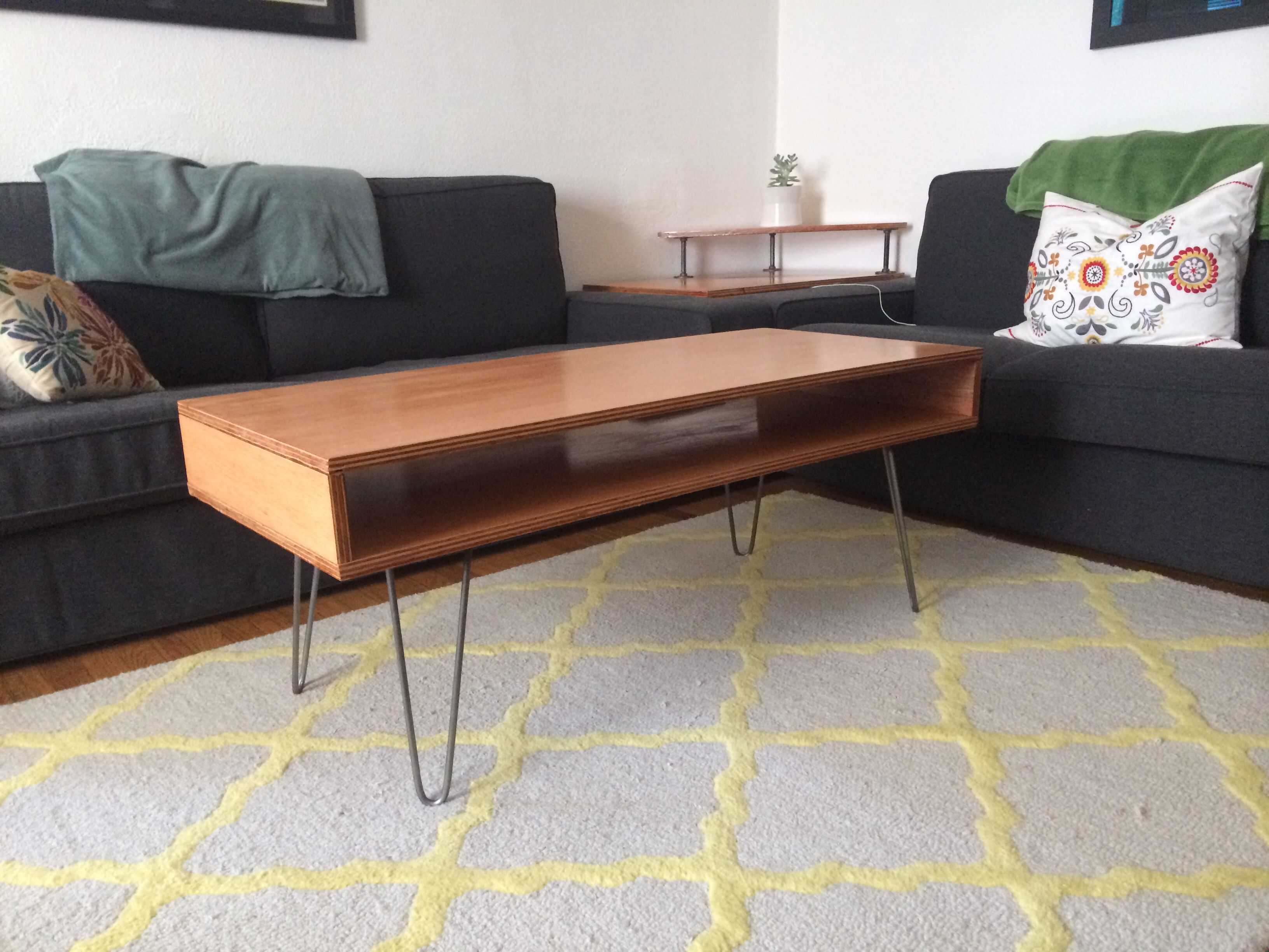 Diy coffee table made from plywood stained and for Plywood coffee table diy