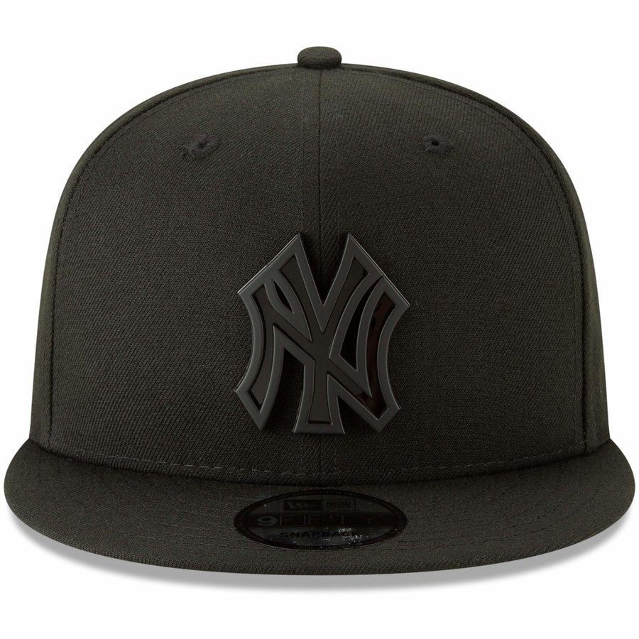 New Era New York Yankees Black Metal Stack 9fifty Adjustable Hat Adjustable Hat New York Yankees Yankees Hat