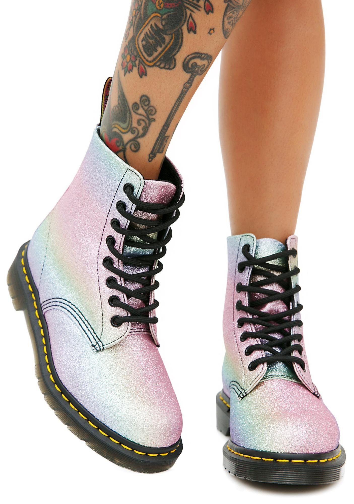 4ee5f7e3a04d7 Dr. Martens Rainbow Glitter Pascal Boots at Dolls Kill, an online punk, goth