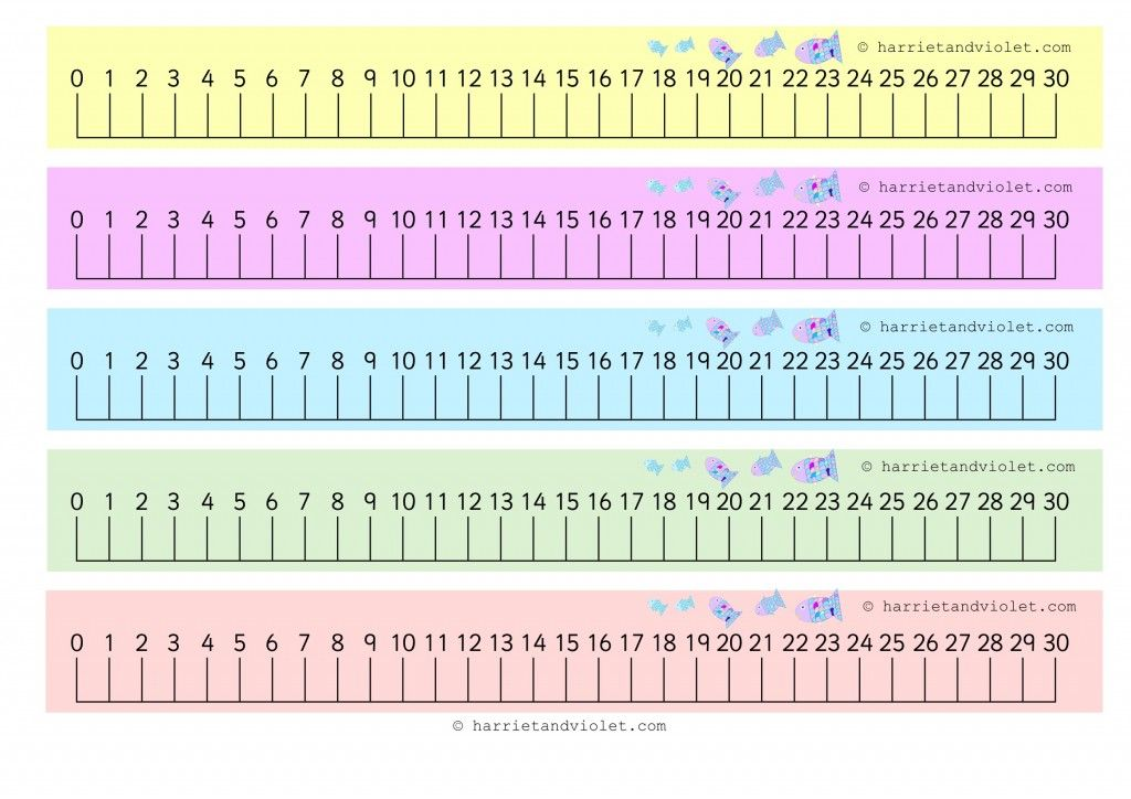 Rainbow Fish 0-30 Number Line with guidelines (numberline) - Free