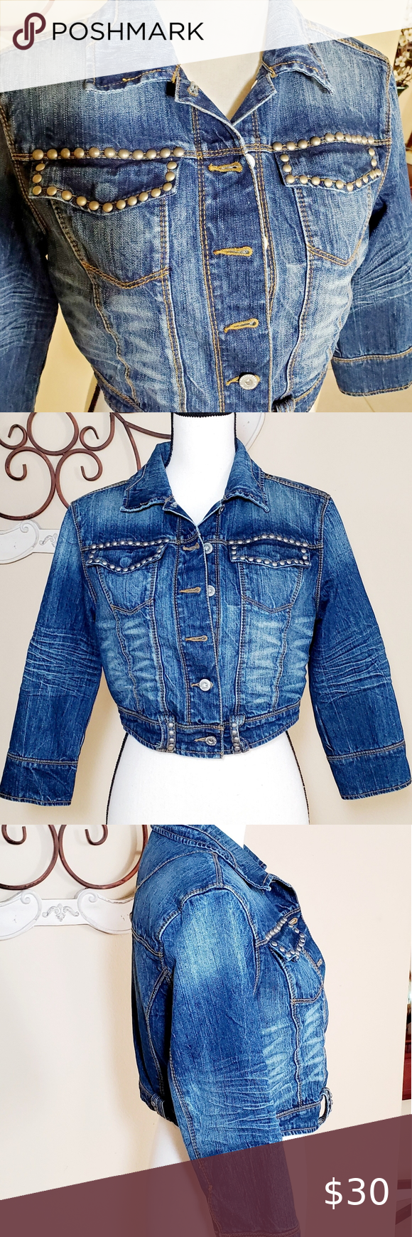 American Rag Cie Cropped Studded Jean Jacket Denim Jacket With Hoodie Studded Jeans Sleeveless Denim Jackets [ 1740 x 580 Pixel ]