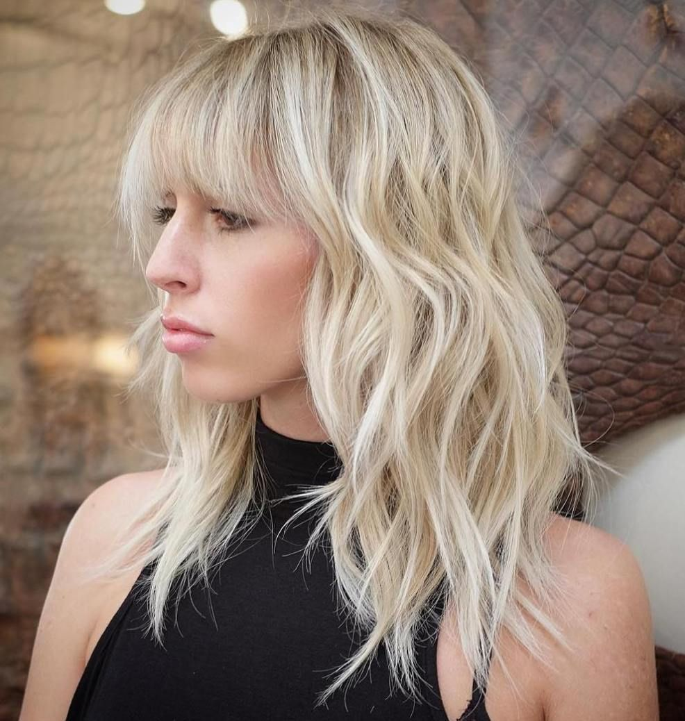 Blonde Layered Hairstyle With Bangs | Mid Length Haircuts | Pinterest
